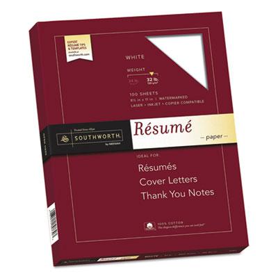 Resume Paper 32 lb white Southworth, Paper, Card template