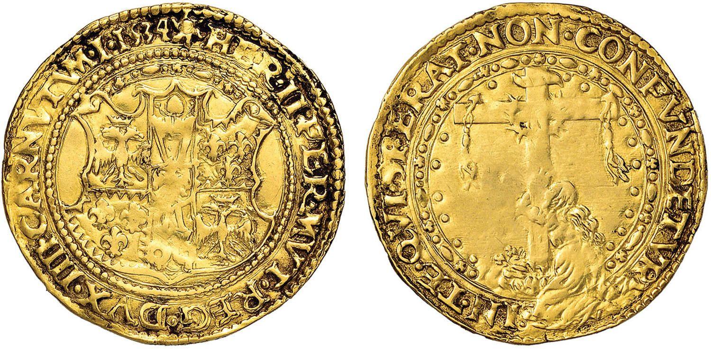 NumisBids: Nomisma Spa Auction 51, Lot 1318 : FERRARA Ercole II (1534-1559) Scudo d'oro 1534 col titolo di DVX...