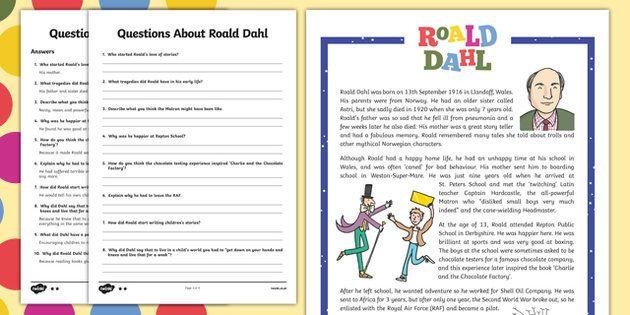 KS2 Roald Dahl Differentiated Reading Comprehension Activity ...