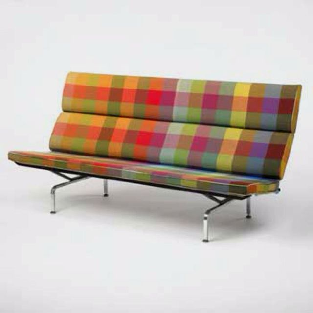 charles ray eames sofa with alexander girard fabric 1950s rh pinterest com