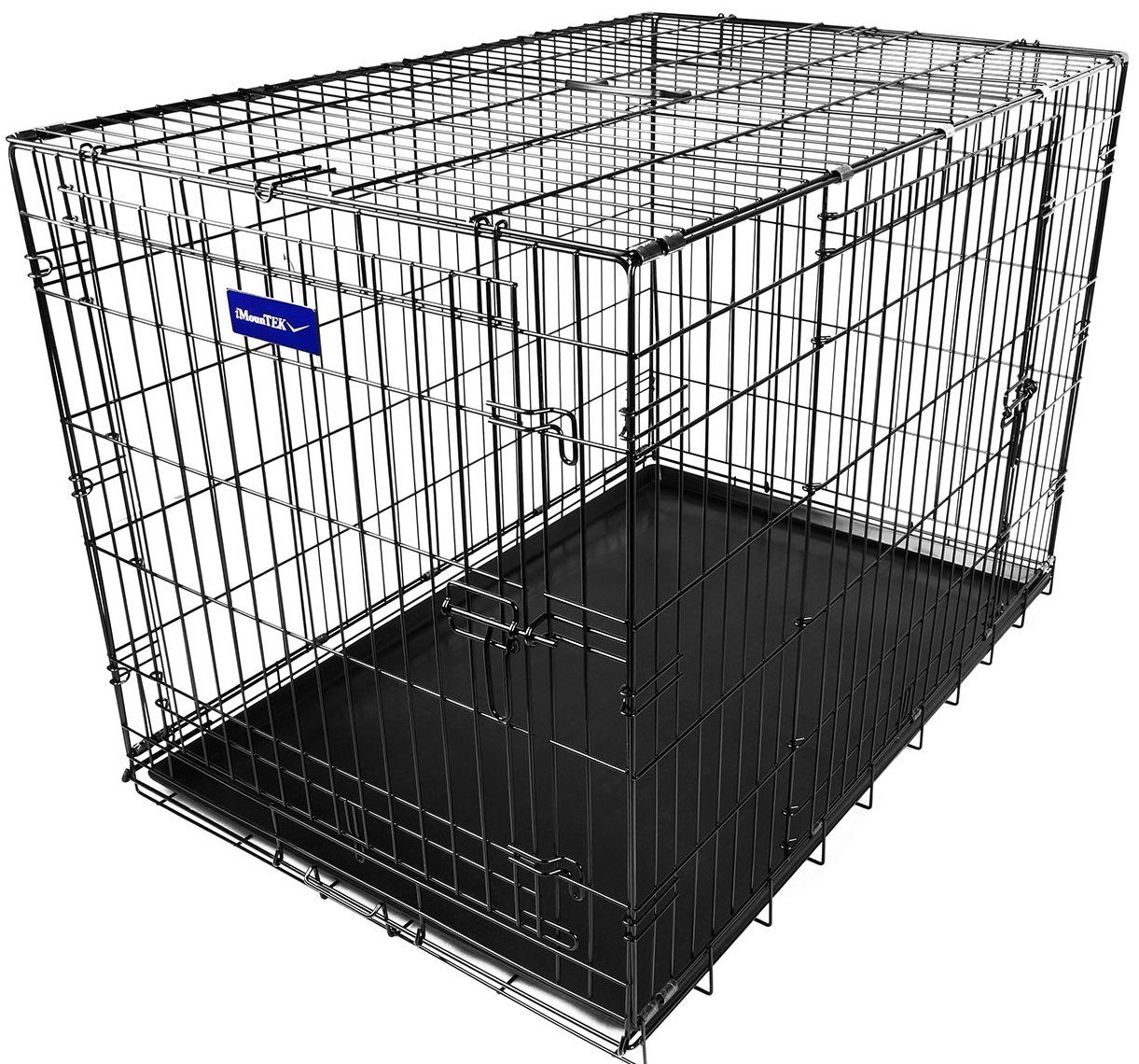 Rust Resistant Removable /& Washable Pan Tray Quick Assembly iMounTEK Folding Metal Pet Dog Puppy Cat Cage Crate Kennel W//Tray 2 Doors Wire Cage for Training
