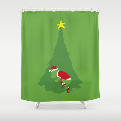 When The Grinch Comes Shower Curtain Christmasshowercurtainglam