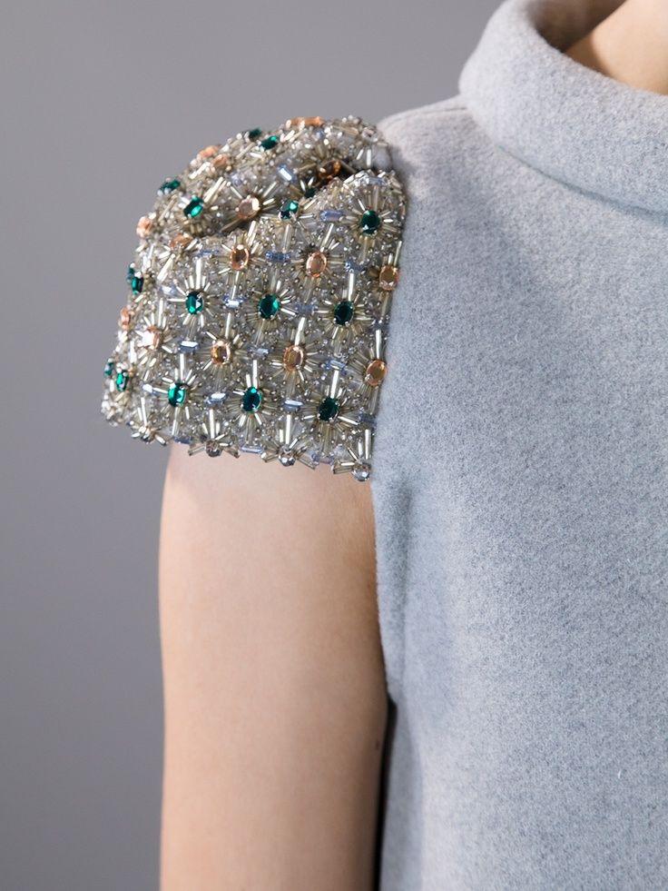 Tara Jarmon Crystal & bead embellished sleeve detail - fashion design; beaded cap sleeves; sewing