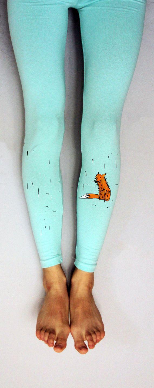 2e3830f6fa2e5 Funky women leggings printed fox mint leggings by ARTsyClothing ...