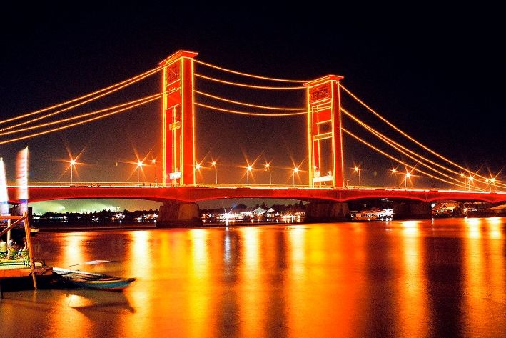 Ampera Bridge Palembang-Indonesia.  Constructed in Apr 1962. 1,177 meters tall and 22 meters