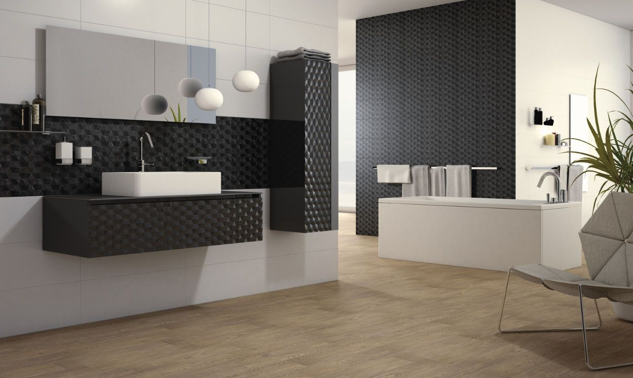 Carrelage Salle De Bain Noir Brillant salon carrelage noir brillant: photos salle bains moderne