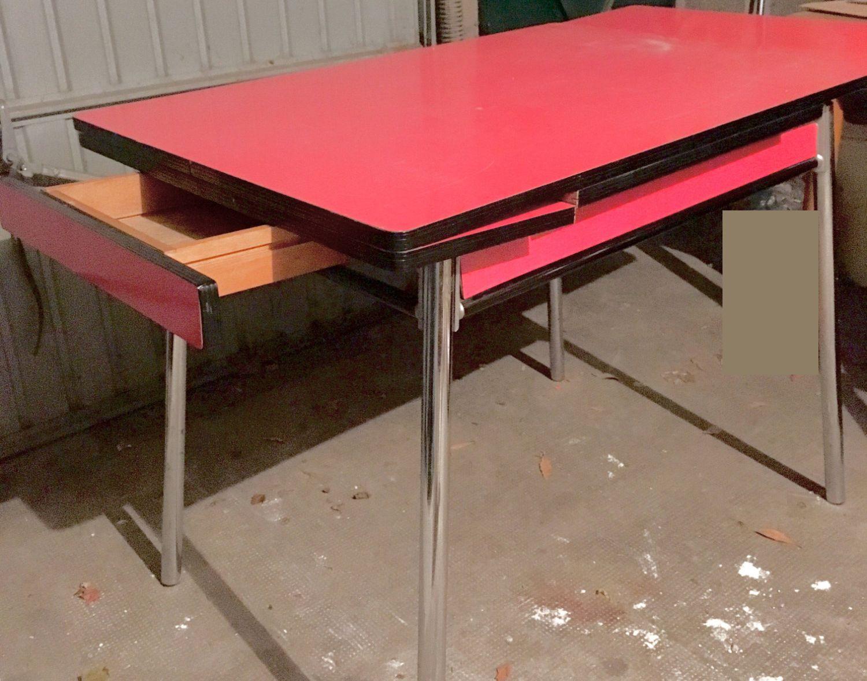 Buffet Table Et Chaises De Cuisine Formica Rouge Et Blanc