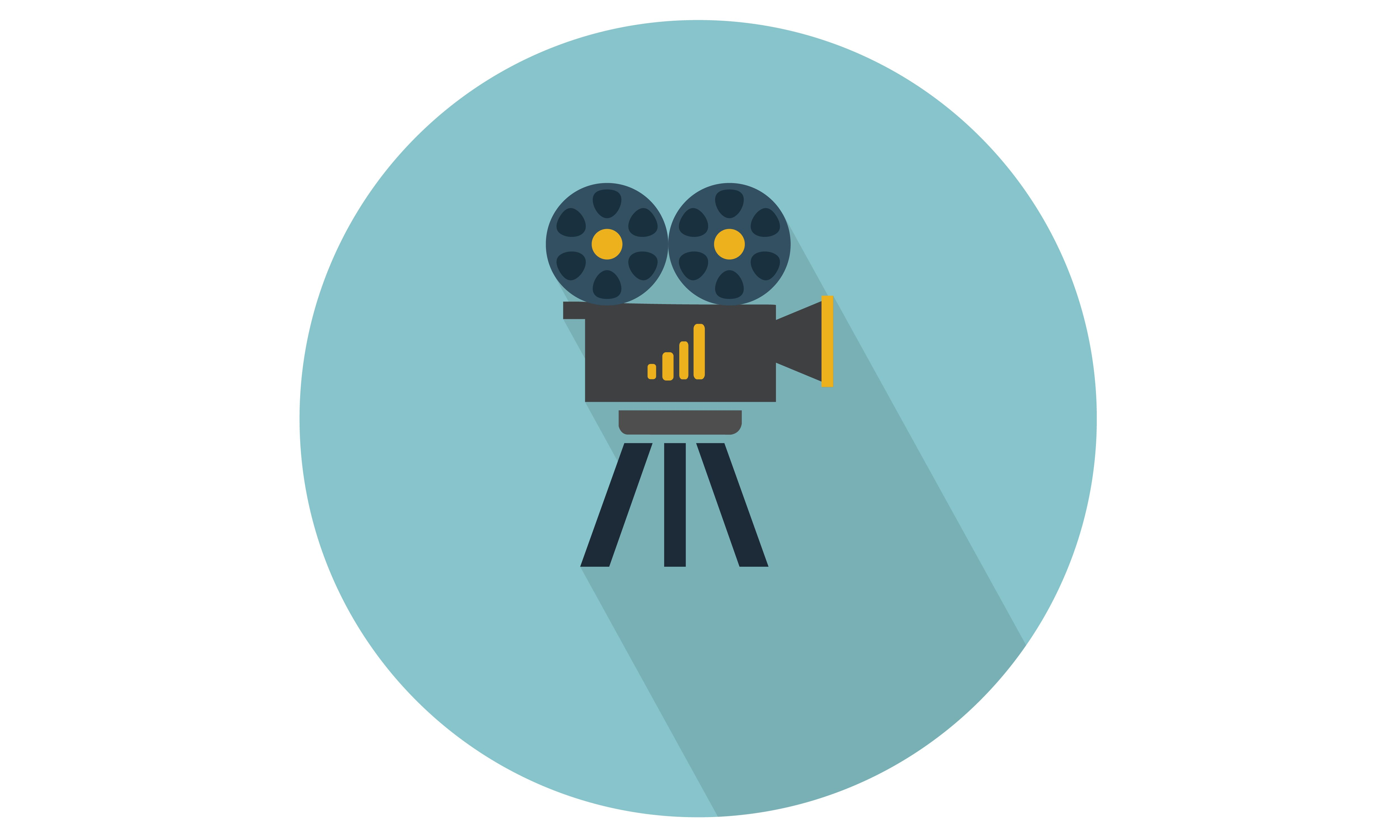 Movie camera with reels and stand vector illustration