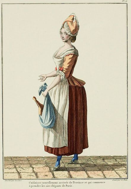 """Fashion plate - """"cook"""" in the Paris fashion - my translation. 1780's?"""