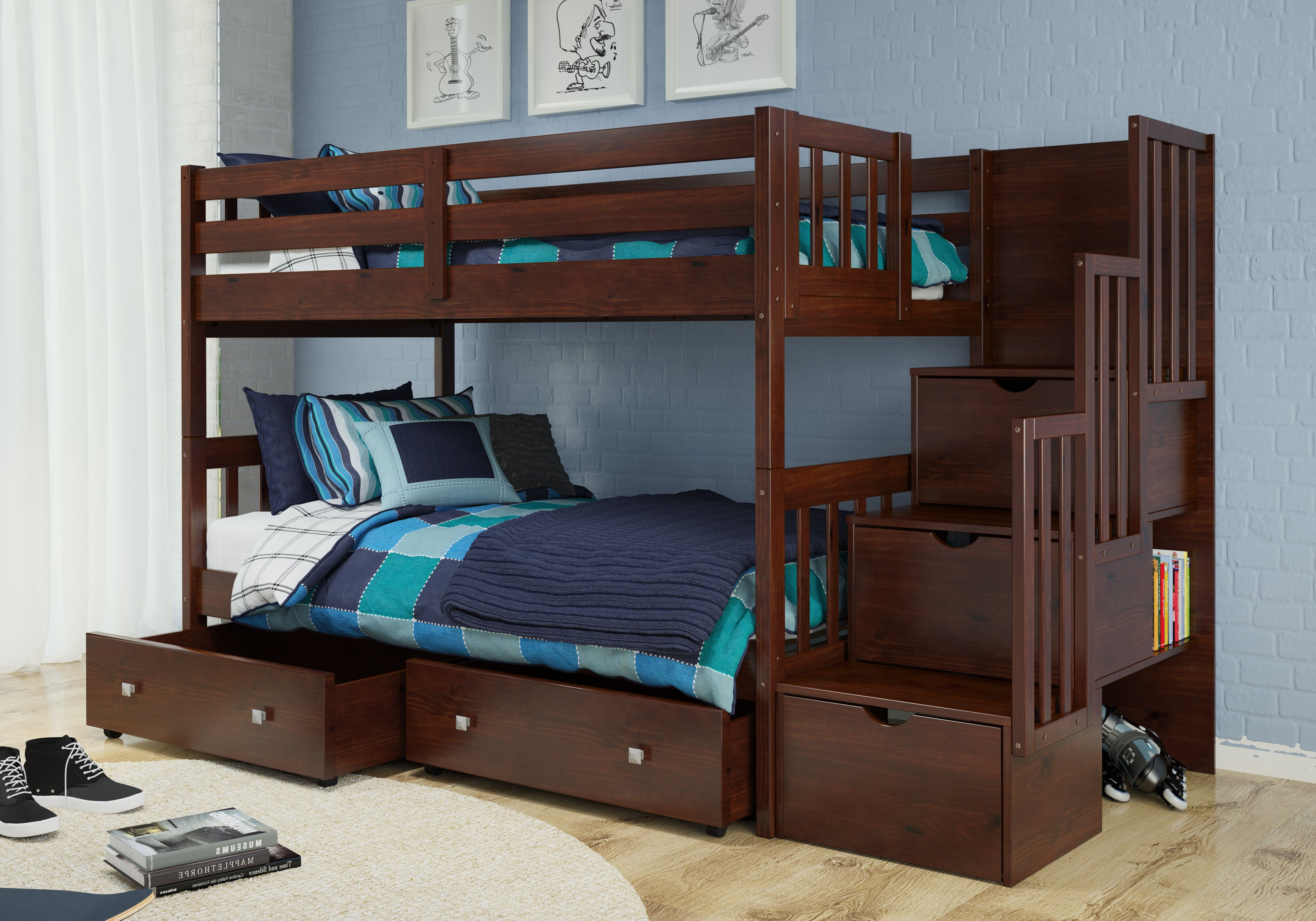 Low loft bed with stairs and storage  Donco Kids Twin Over Twin Mission Storage Stairway Bunk Bed in