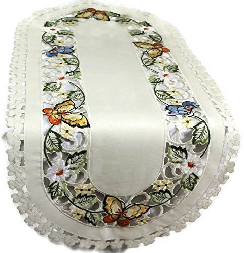 Embroidered Color Butterfly Table Runner - Machine Washable - 14 by 34 Inch