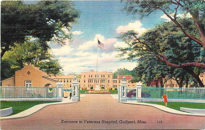 Gulfport Mississippi Ms 1950 Veterans Hospital Entrance Antique