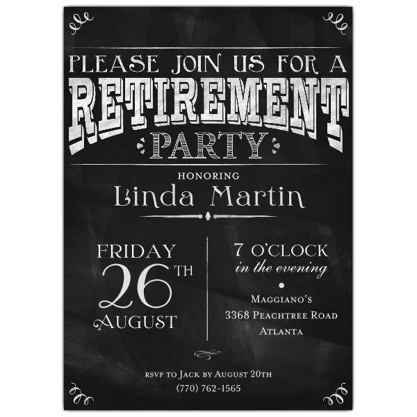 Chalkboard black retirement party photo invitations retirement chalkboard black retirement party photo invitations stopboris Image collections