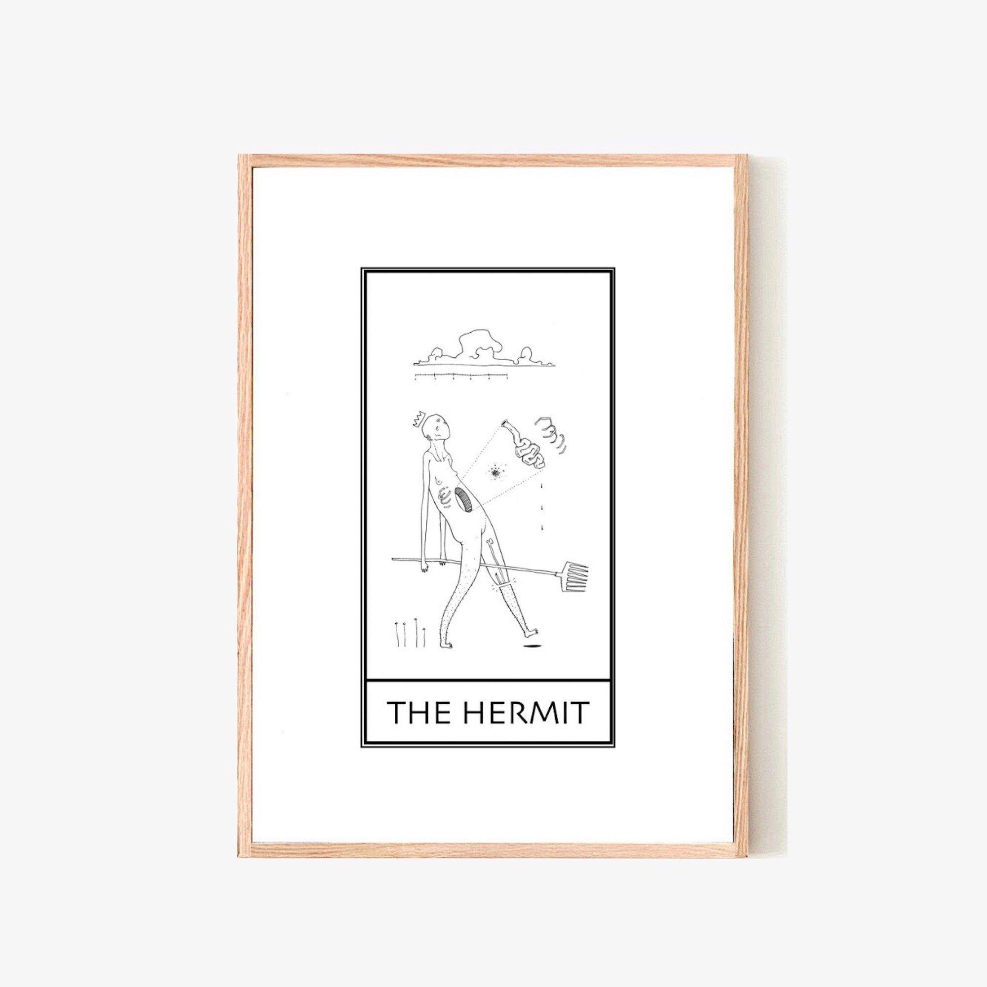 THE HERMIT | Tarot card print | Occult wall art | Witchy decor | Minimalist line art | Wiccan decor | Tarot poster