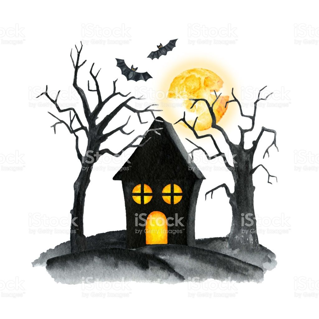 cemetery with curled trees crosses and tombstones witch house