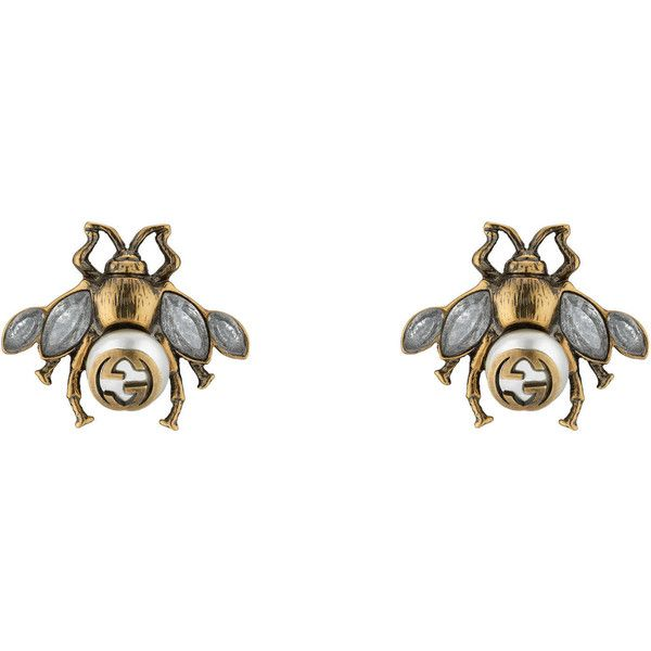 2b984d231da Gucci Bee Earrings With Crystals ( 350) ❤ liked on Polyvore featuring  jewelry