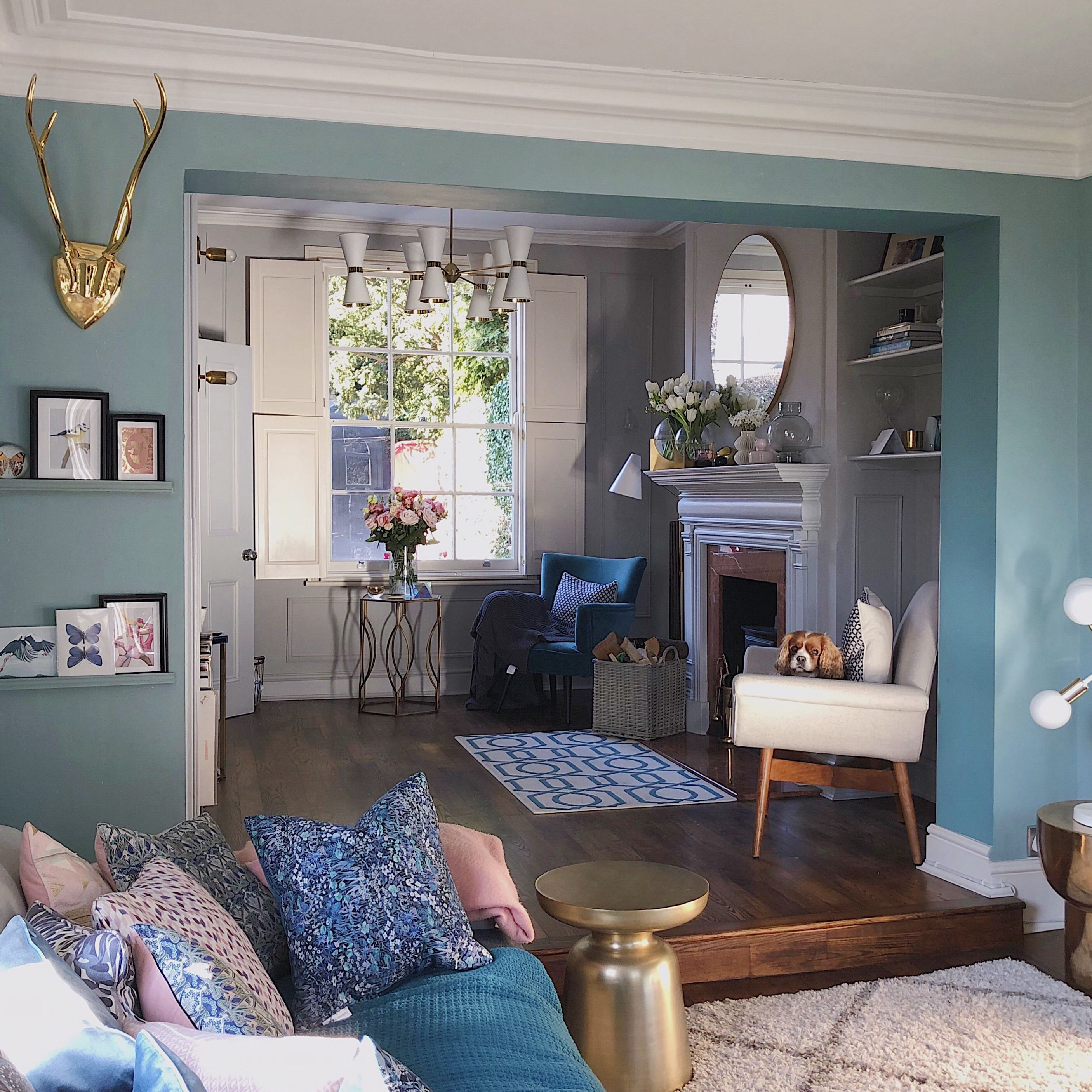 Blue Living Room Going Into A Grey Sitting Room. Old House
