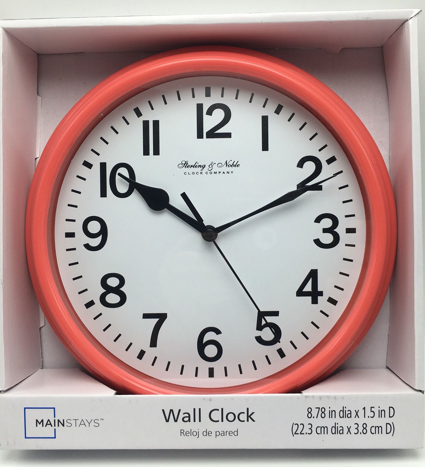 Wall Clock Peach Pink 8 78 Inch Sterling Noble New Wall Clock Clock Mainstays