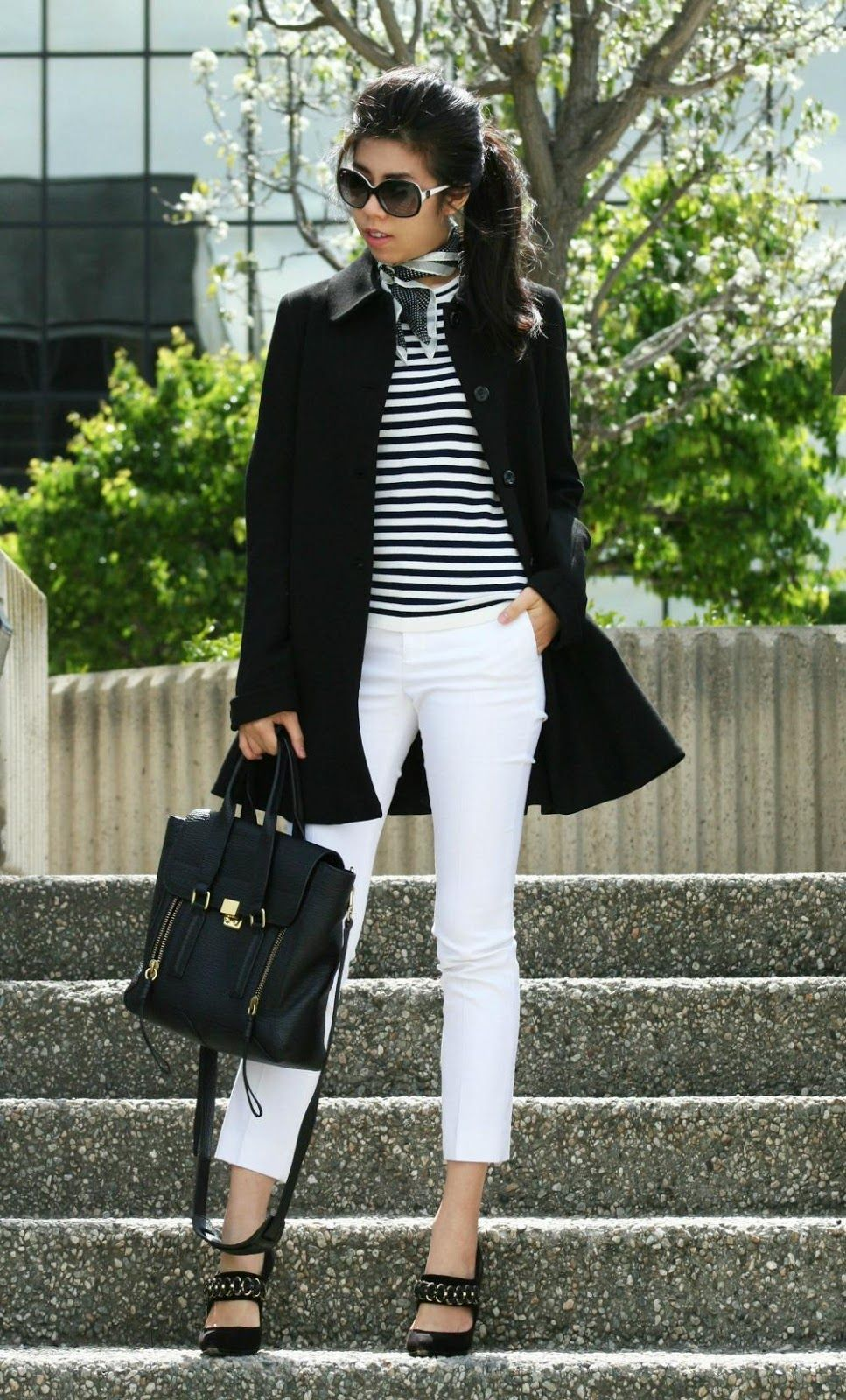 3504e029352 How to Wear a Silk Tie Scarf - Women s Ascot - French Girl Fashion - Adrienne  Nguyen - Invictus