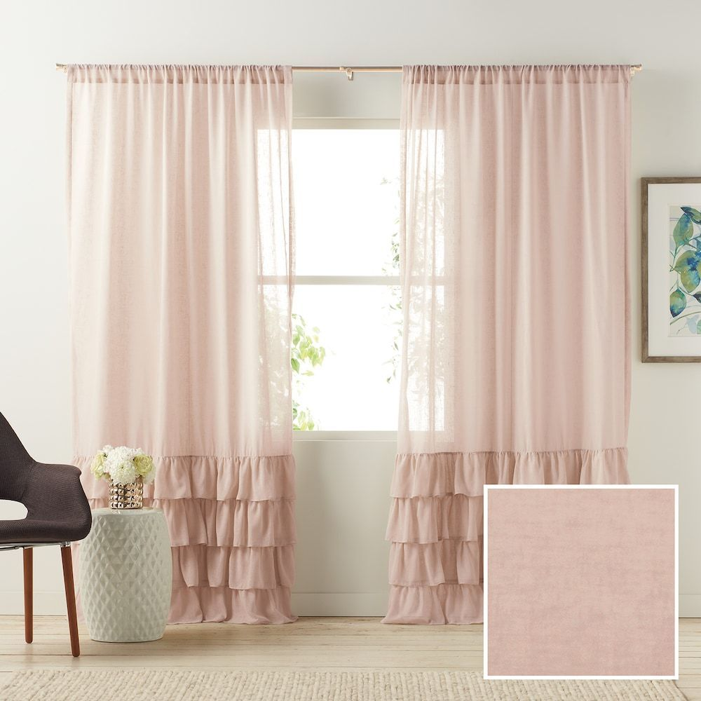 Rideau Pour Chambre Ado lc lauren conrad 1-panel kate ruffle sheer curtain, pink