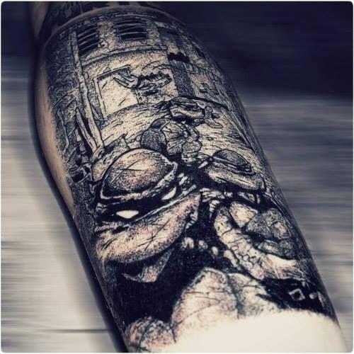 tmnt teenage mutant ninja turtles black and white tattoo tattoo pinterest tattoo tatting. Black Bedroom Furniture Sets. Home Design Ideas