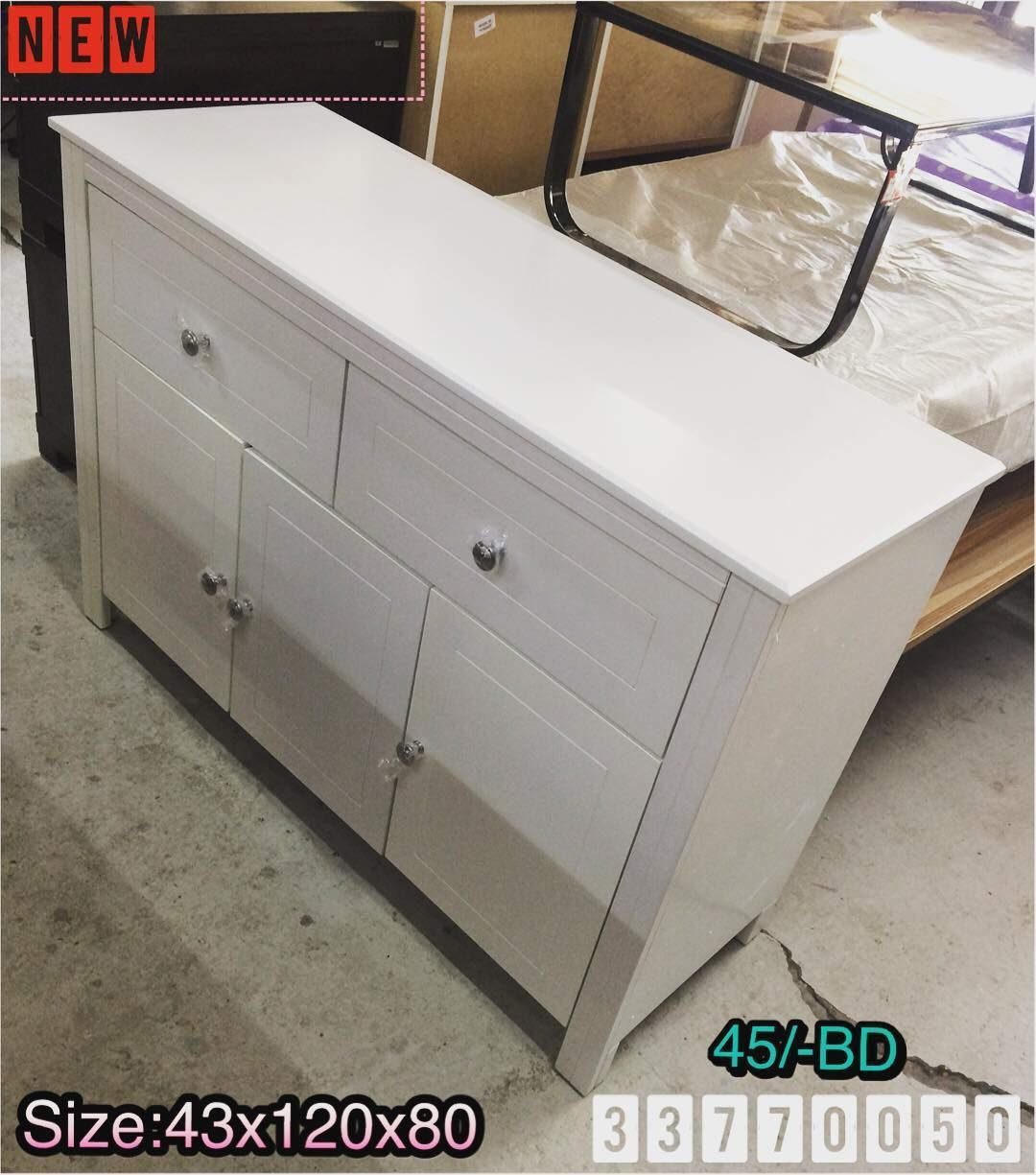 For Sale Side Cabinet Size 43x120x80 White Color New Made In Malaysia Price 45 Bd للبيع كبت خشب ادراج لون ابيض جديد Side Cabinet Cabinet Color