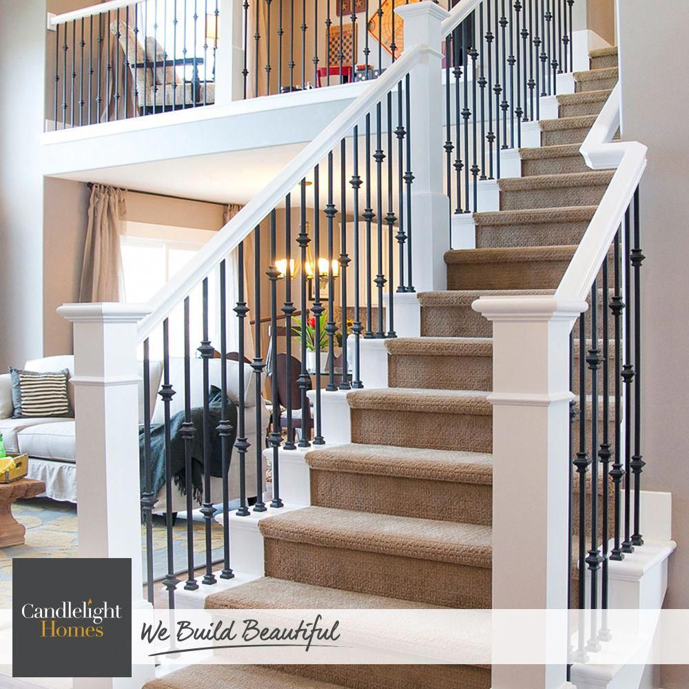 We can't help but stare at these gorgeous iron spindles! #CandlelightHomes #utahhomes #utahbuilder #webuildbeautiful #homedecor #interiordesign #staircase #home #utah #banisterremodel