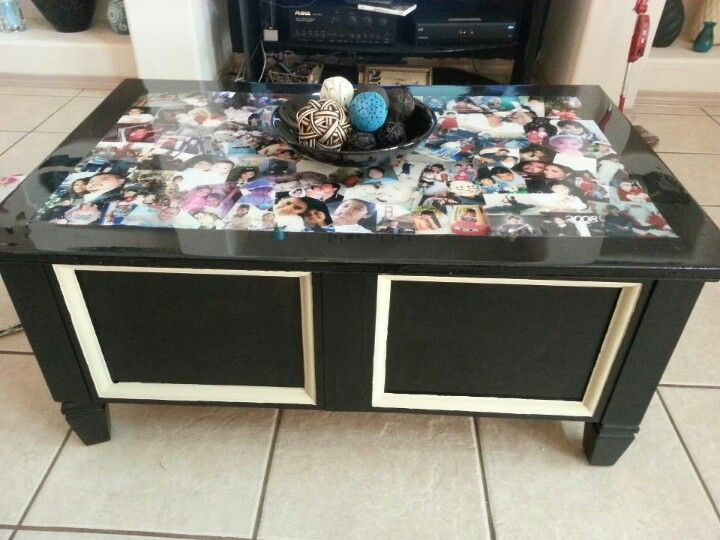 Redid our coffee table with old family pictures used for Inspirational decoupage coffee table