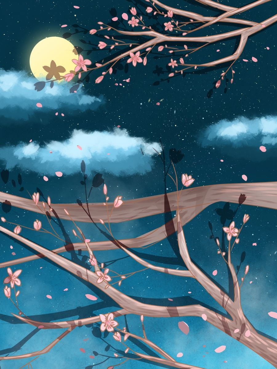 Painted Good Night Flowering Branches Background Design Background Design Art Background Best Flower Wallpaper