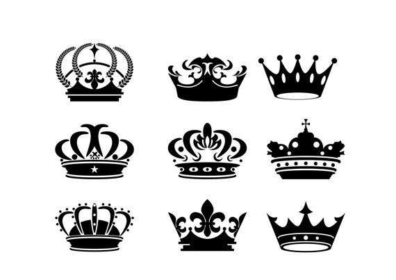 Crown Silhouette Digital Clipart Vector Eps Png Files Black Clip Art Images Instant Download Crown Silhouette Crown Drawing Crown Tattoo Design