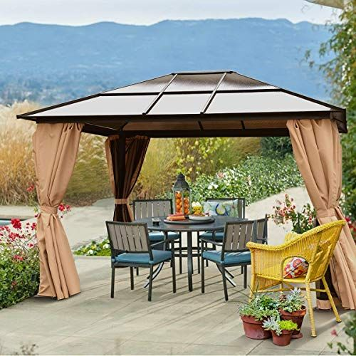 New Barton 10 X 12 Hard Roof Outdoor Patio Gazebo Canopy Aluminum Poles Stand Backyard Hardtop Curtains And Netting Uv Resi Patio Gazebo Patio Backyard Patio