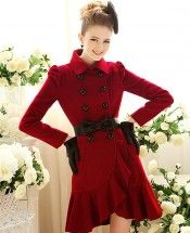 Burgundy Lady Ruffle Trendy Double Breasted Pleated Woollen Coat