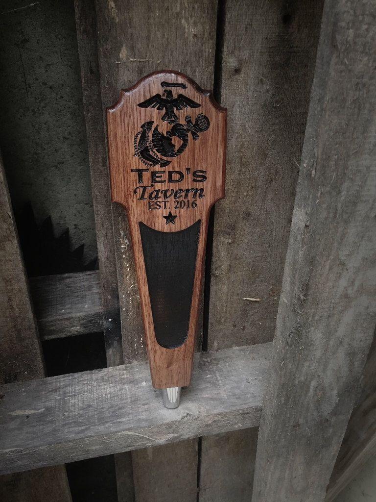 Custom Personalized Beer Tap Handle Bar Man Cave Bar Kegerator Marines