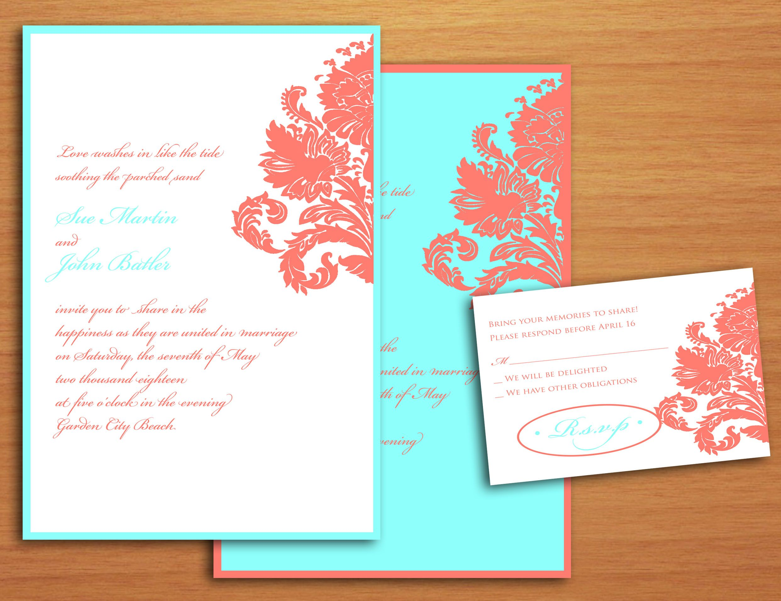 Blue And Coral Wedding Invitations: Use A Darker Blue Like A Navy Instead Of The Turquoise Or