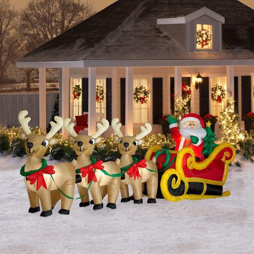 16u0027 Long Airblown Christmas Inflatable Santa In Sleigh With Three Reindeers