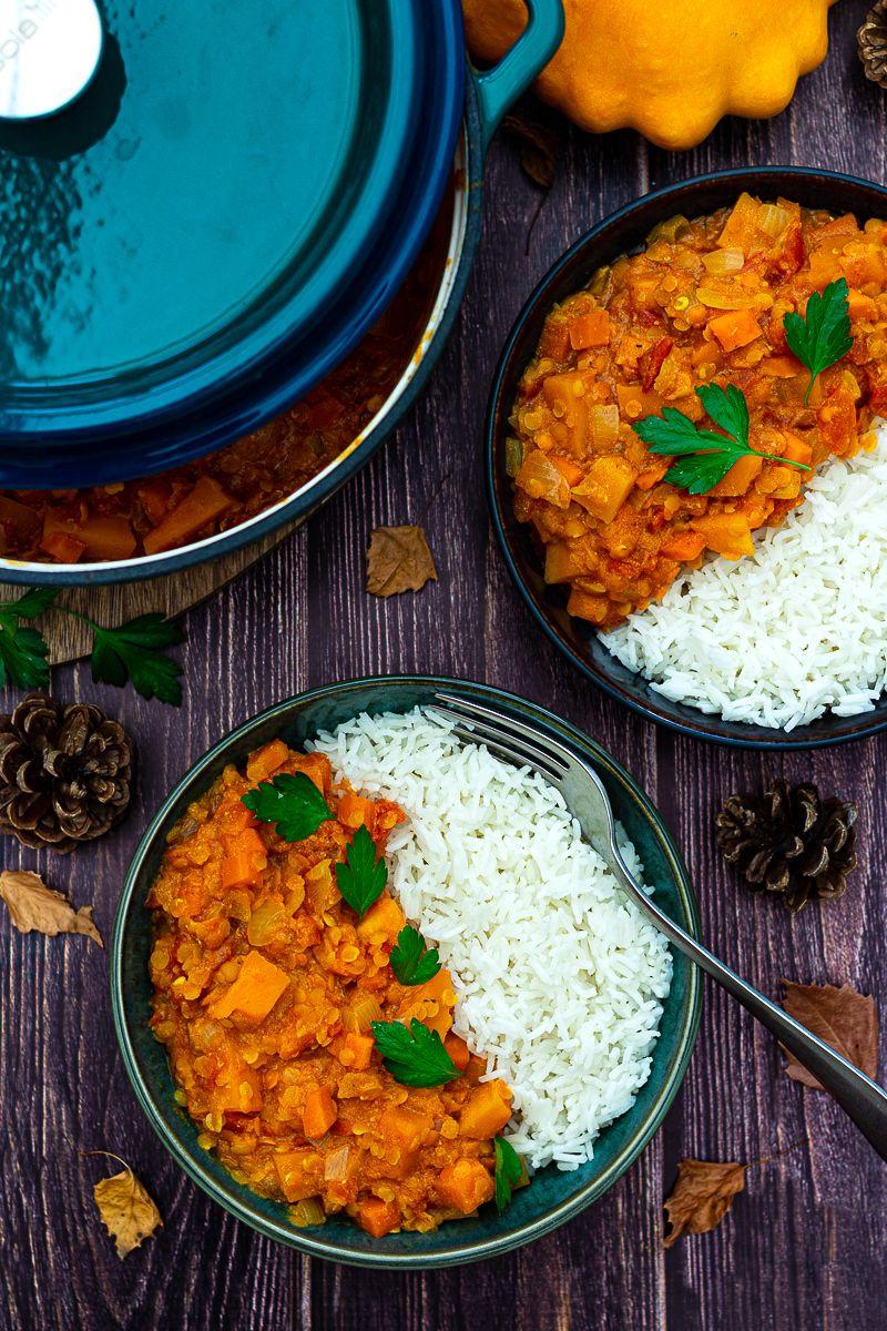 Curry de lentilles corail au potiron et carotte