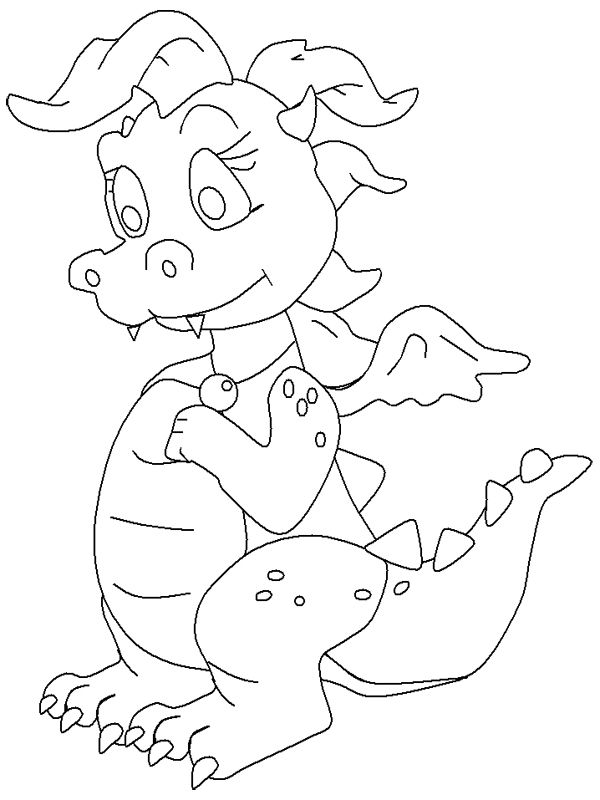 Baby Girl Dragon Coloring Page | Coloring-Fantasy | Pinterest ...