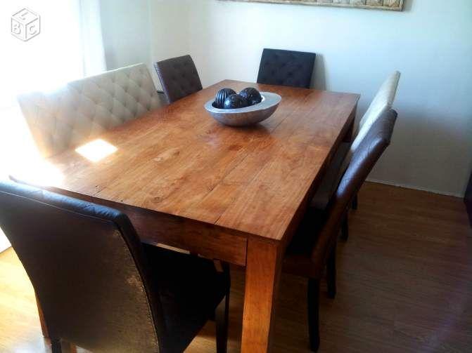Table salle manger 8 12 personnes teck massif ameublement hauts de seine - Table de salle a manger 12 personnes ...