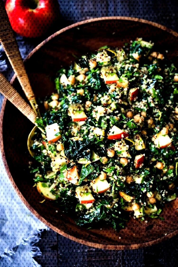 Happiness Salad! Kale Quinoa Salad with Apples, Chickpeas and Currants! A hearty vegan salad that c