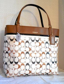 Coach Box W Key Item Signature Handbag 29783 W Dust Multi Neutrals Refined Coated Canvas Leather Tote Coach Purses Cheap Coach Bags Neutral Tote Bags