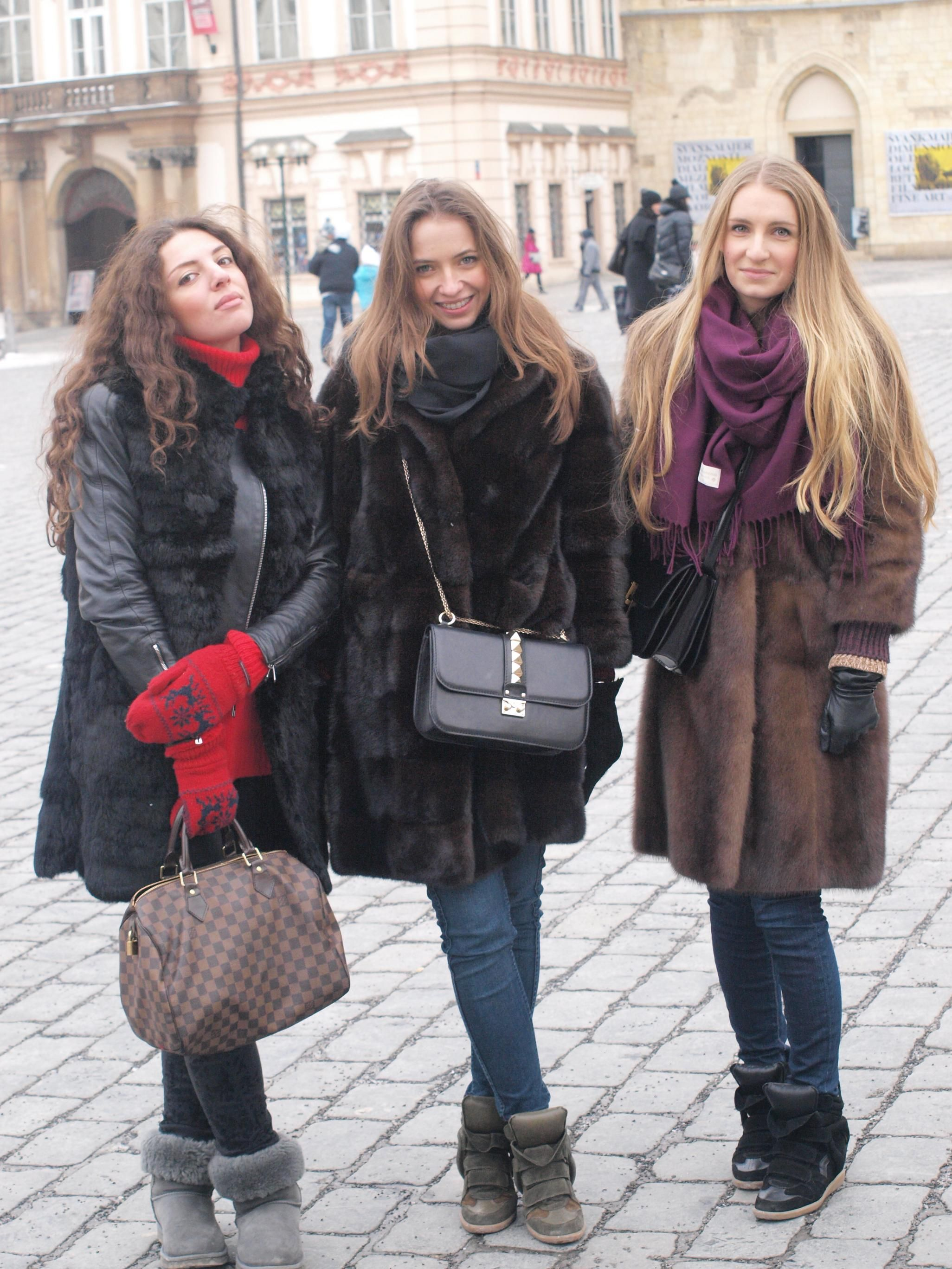 3 girls in fur. My Prague shot. | Street Fur Fashion