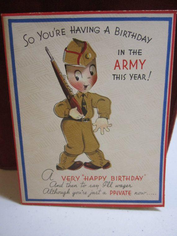 1940 S Unused War 2 Era Die Cut Humorous Military Birthday Card For