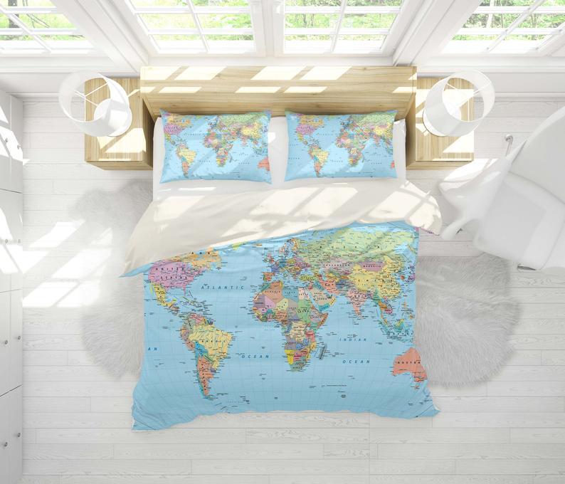 3d Details World Map Bedding Set Quilt Cover Quilt Duvet Etsy Quilt Cover Sets Quilted Duvet Cover Quilt Cover