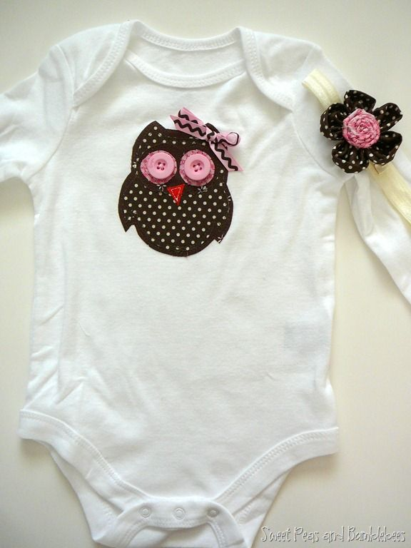 Next project: Owl applique onesie (or shirt) and matching headband