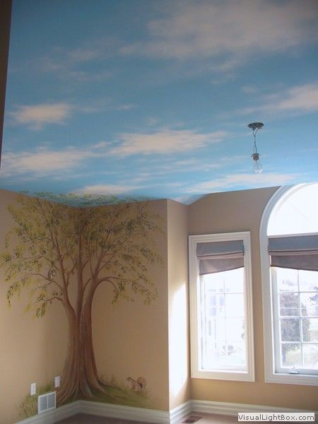 Tree Mural With Painted Sky Ceiling In 2019 Neat Ideas