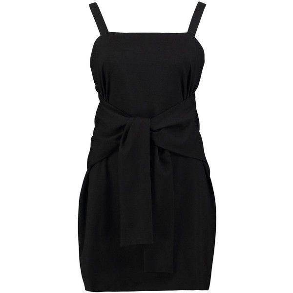 Boohoo Nicole Tie Pinafore Dress | Boohoo ($16) ❤ liked on Polyvore featuring dresses, bodycon evening dresses, layering cami, cocktail dresses, cami dress and boohoo dresses