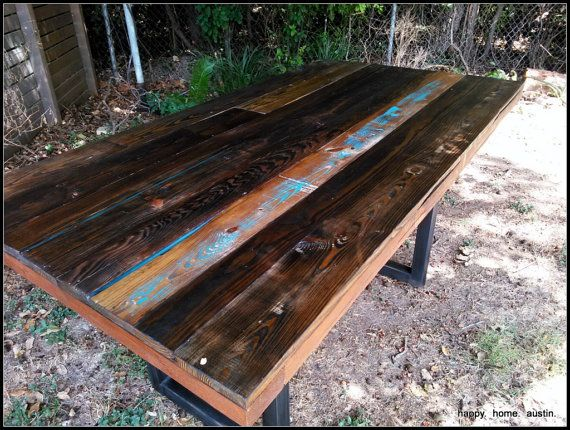Reclaimed Salvaged Wood Dining Table van HappyHomeAustin op Etsy