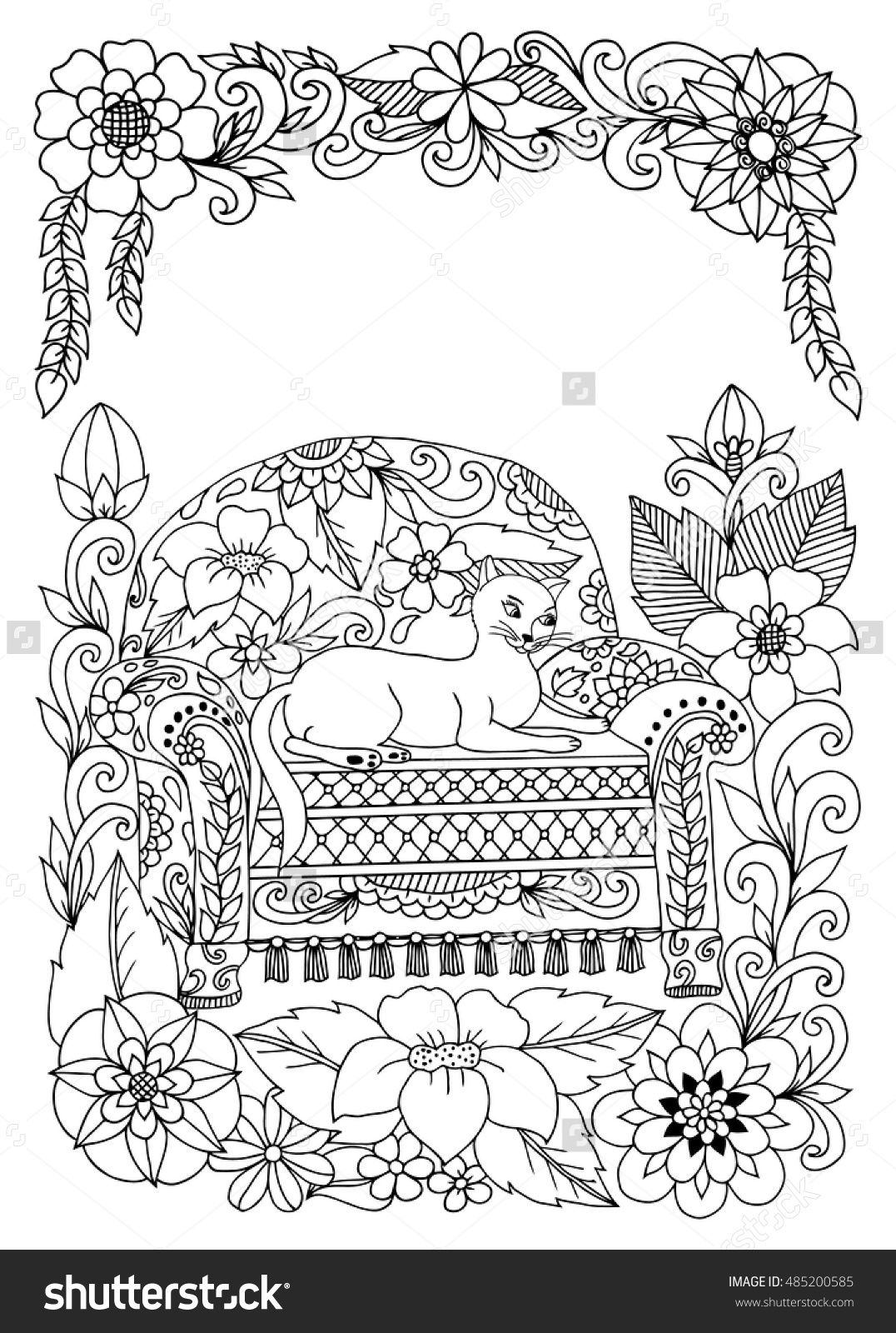 Zentangle Cat On A Saturday Sofa In The Colors Doodle Coloring Book For Adults