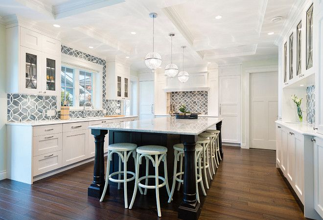 "white kitchen with blue gray backsplash tile ""ann sacks beau monde"