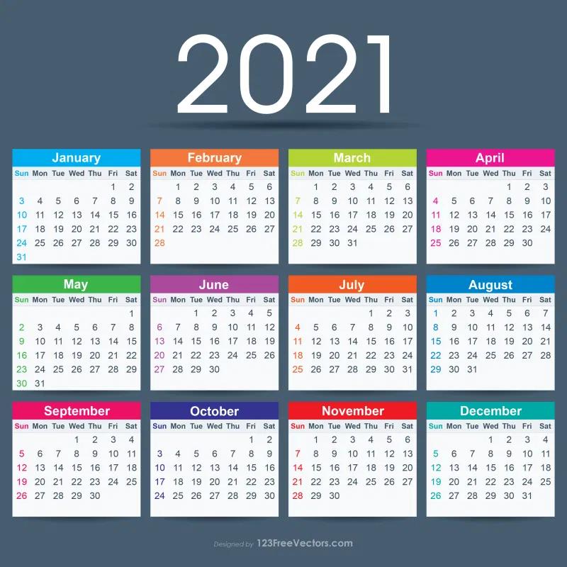 Free 2021 Calendar Ai Calendar Template Calendar Design Vector Free